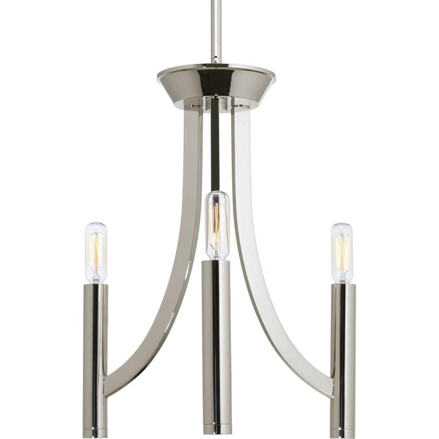 Progress Lighting Draper 13-in 3-Light Polished Nickel Vintage Candle Chandelier