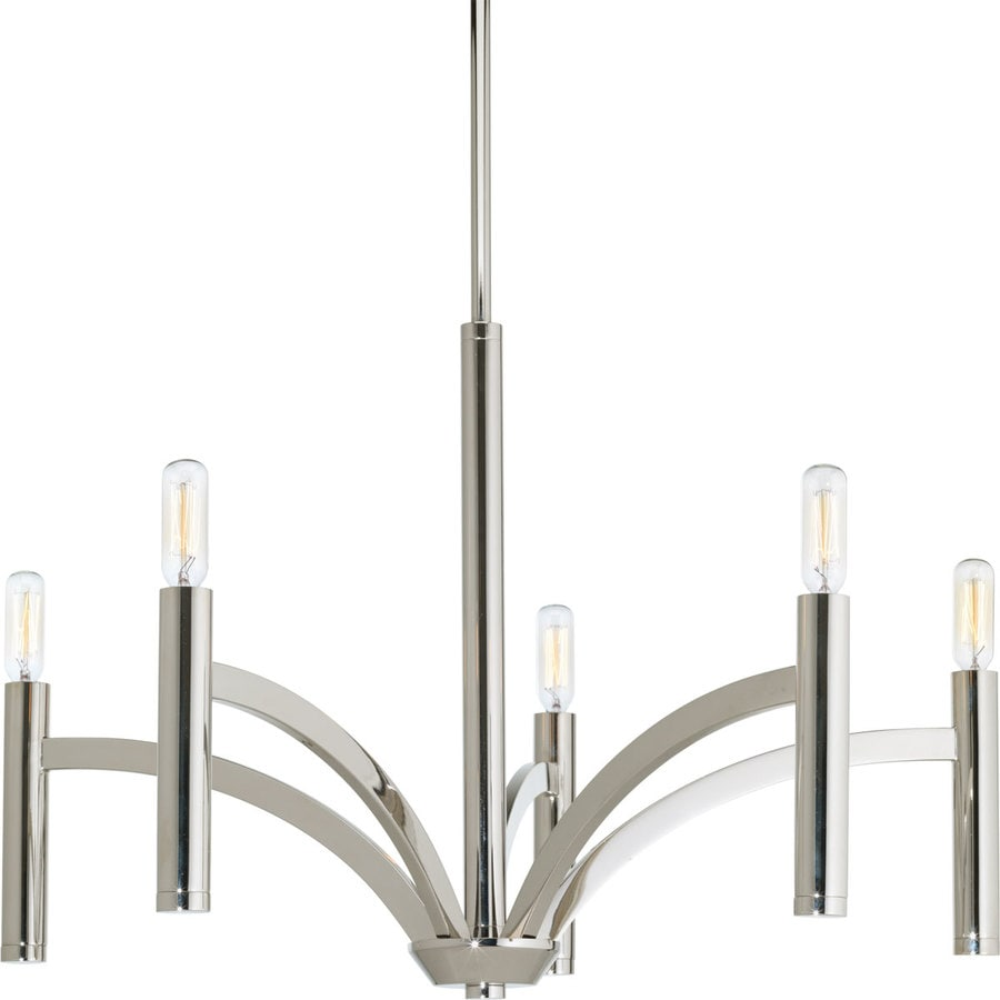 Progress Lighting Draper 25-in 5-Light Polished Nickel Vintage Candle Chandelier