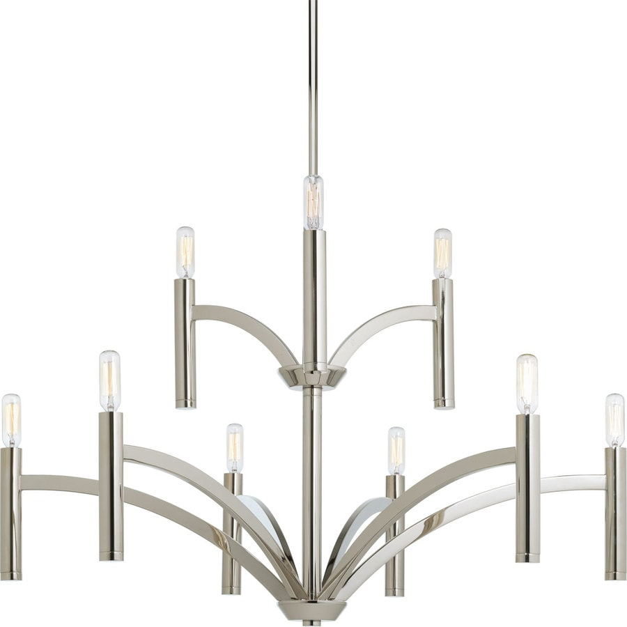 Progress Lighting Draper 32-in 9-Light Polished Nickel Vintage Candle Chandelier