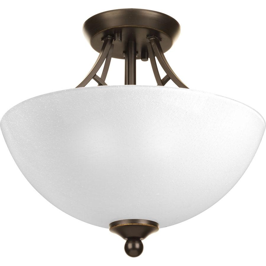 Progress Lighting Prosper 13.375-in W Antique Bronze Etched Glass Semi-Flush Mount Light