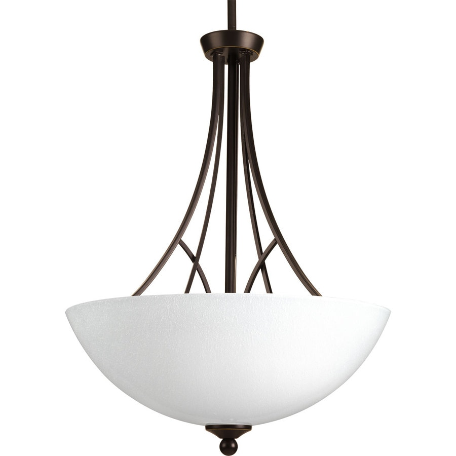 Progress Lighting Prosper 17.375-in 3-Light Antique Bronze Seeded Glass Shaded Chandelier