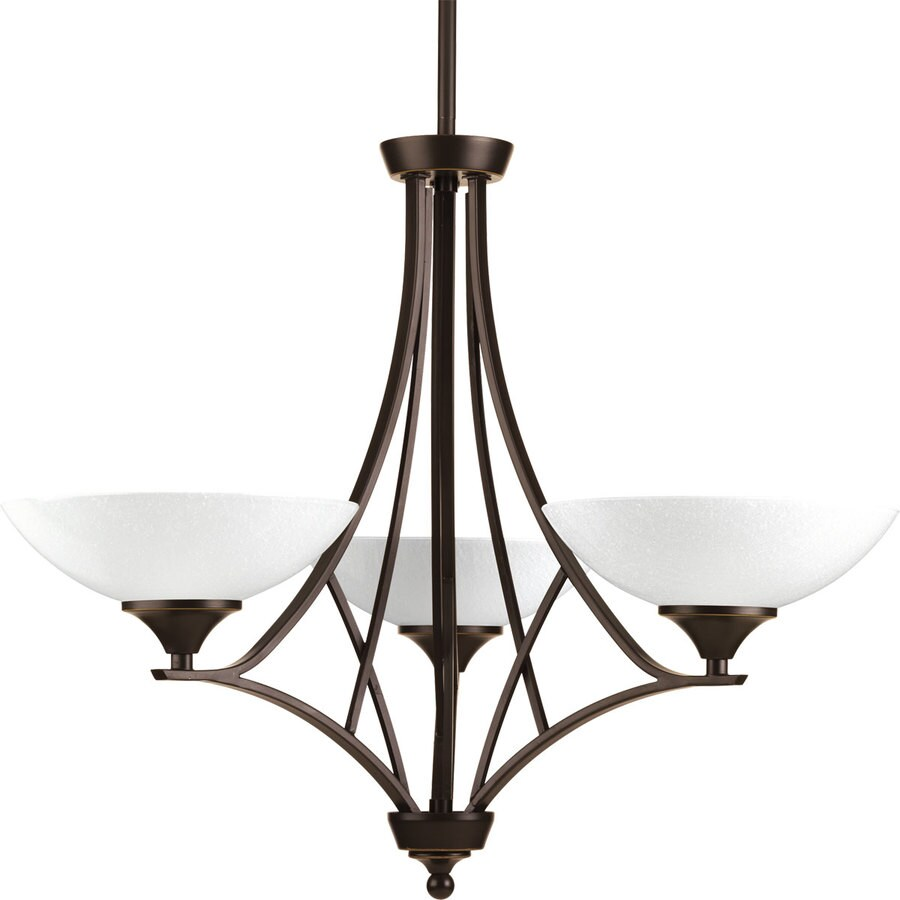 Progress Lighting Prosper 25-in 3-Light Antique Bronze Seeded Glass Shaded Chandelier