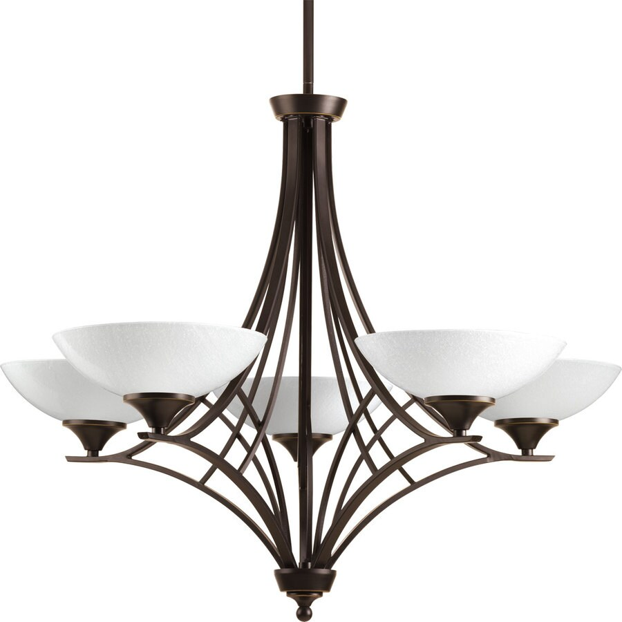 Progress Lighting Prosper 30-in 5-Light Antique Bronze Seeded Glass Shaded Chandelier