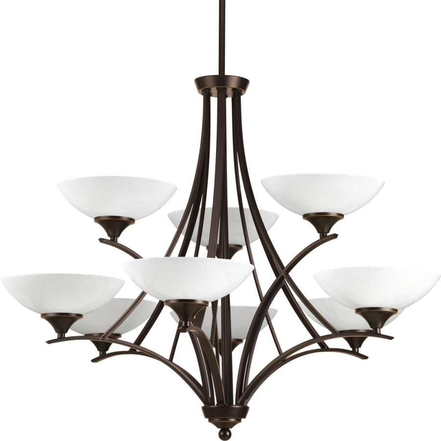 Progress Lighting Prosper 34.5-in 9-Light Antique Bronze Seeded Glass Tiered Chandelier