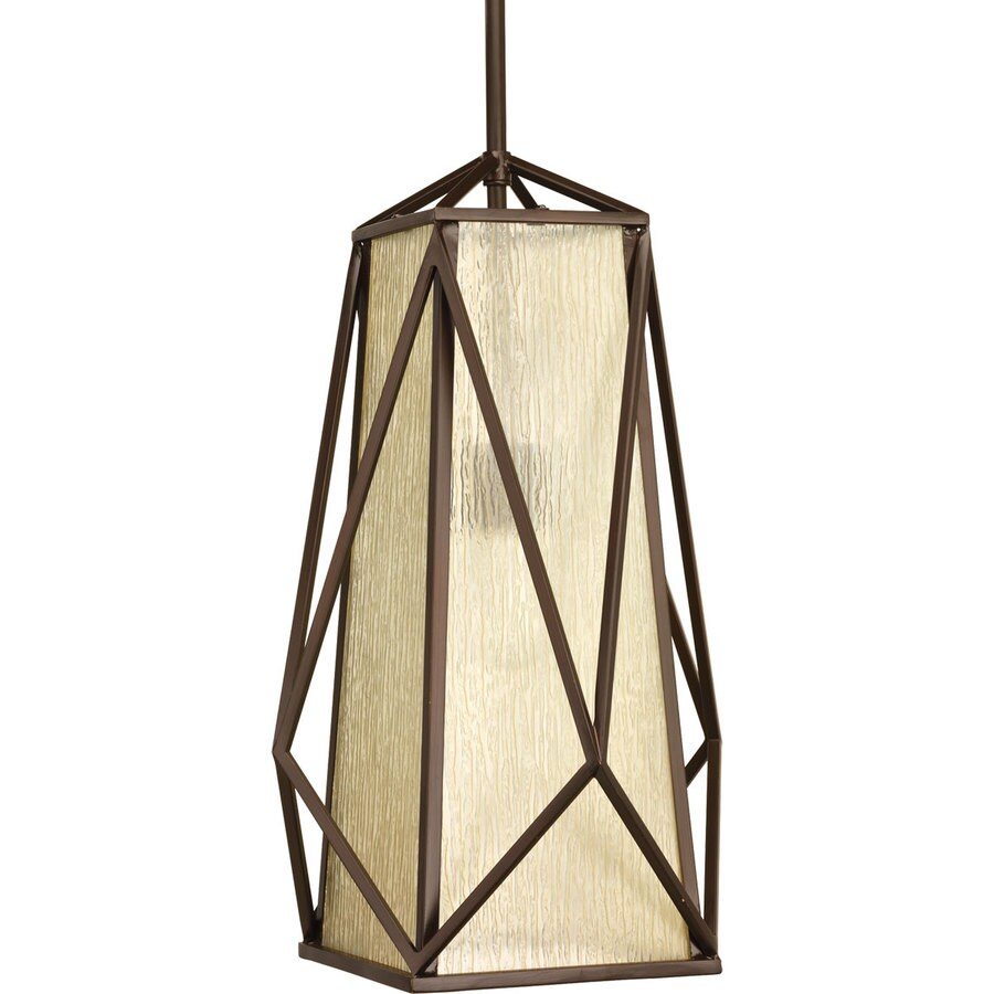Progress Lighting Marque 12-in 1-Light Antique bronze Seeded Glass Shaded Chandelier