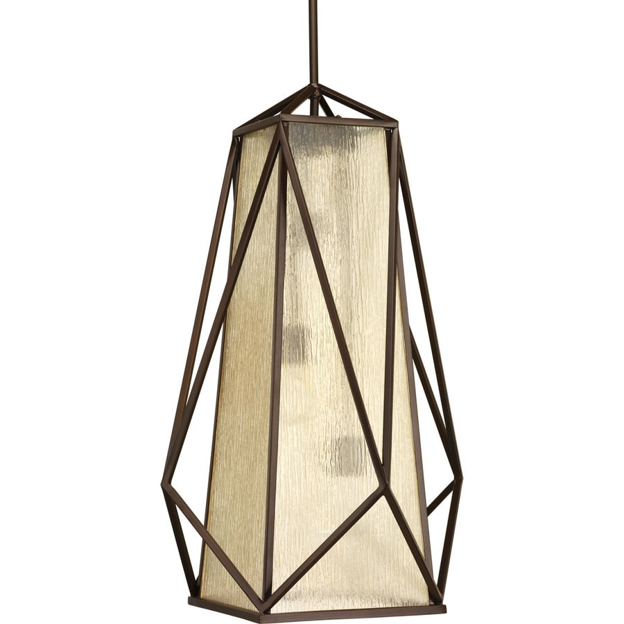 Progress Lighting Marque 18-in 3-Light Antique bronze Seeded Glass Shaded Chandelier