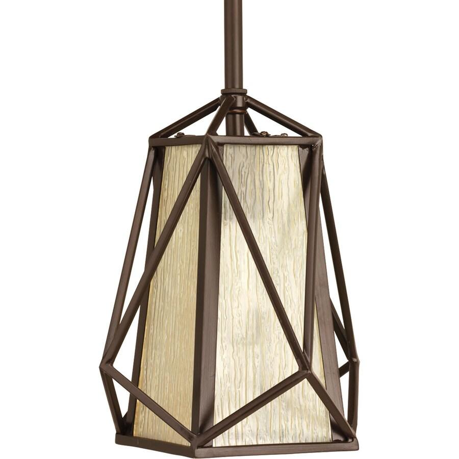 Progress Lighting Marque 7.75-in Antique Bronze Mini Seeded Glass Bell Pendant