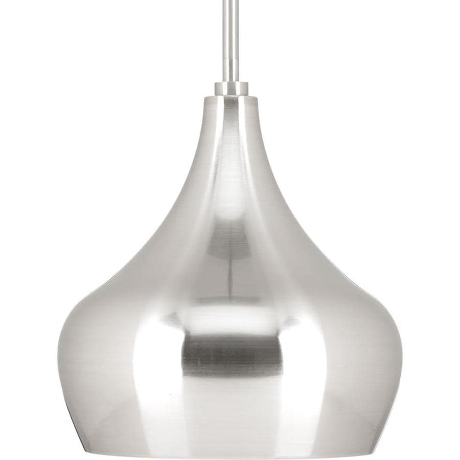 Progress Lighting 10-in Brushed Nickel Single Teardrop LED Pendant