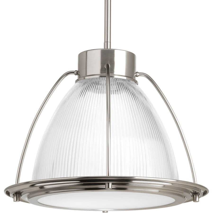 Progress Lighting 12.75-in Brushed Nickel Single Tinted Glass Bell Pendant
