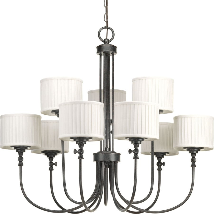 Progress Lighting Clayton 37.25-in 9-Light Espresso Shaded Chandelier