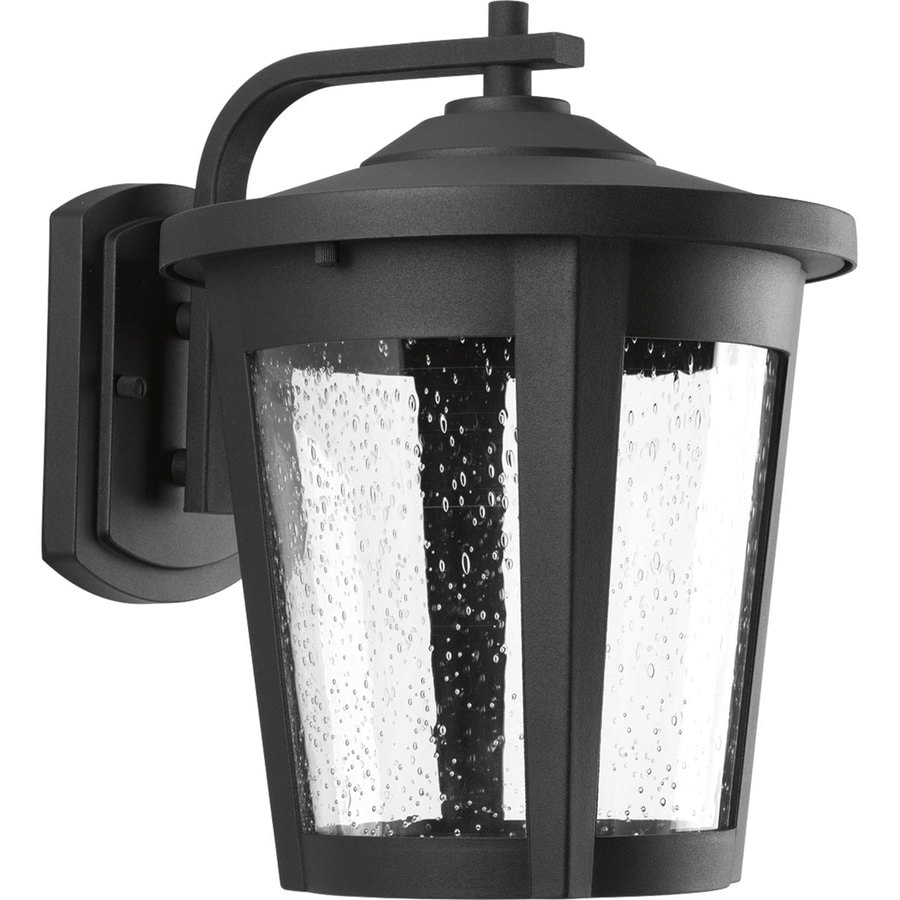 shop progress lighting east led 12 in h black led outdoor wall light energy at lowes