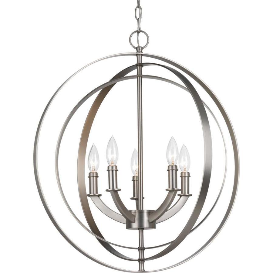 Progress Lighting Equinox 22-in 5-Light Burnished Silver Globe Chandelier