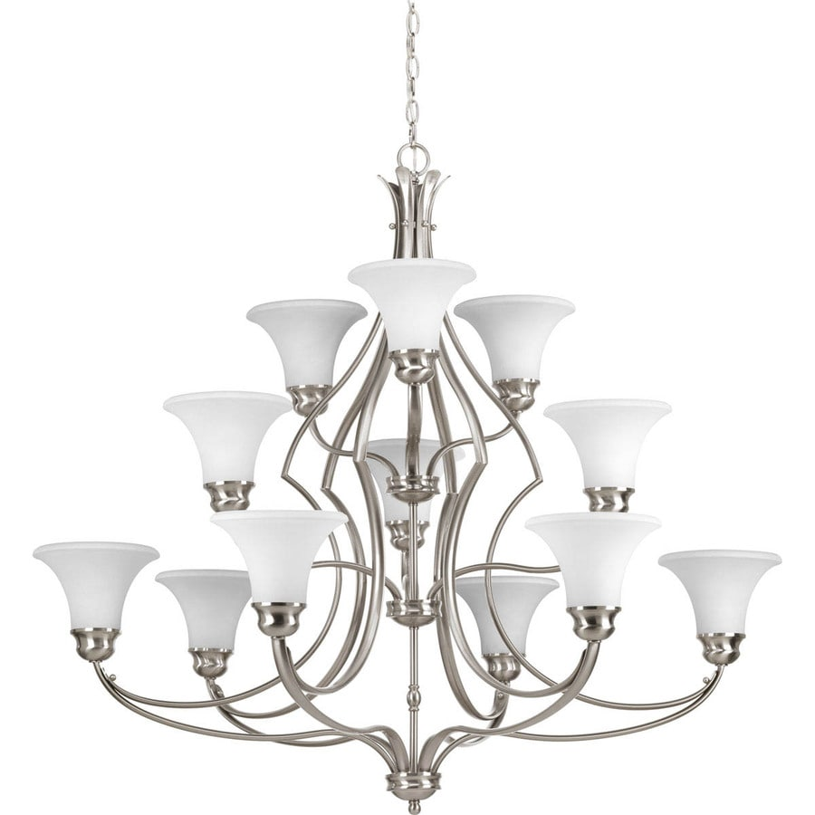 Progress Lighting Applause 42-in 12-Light Brushed nickel Tinted Glass Shaded Chandelier