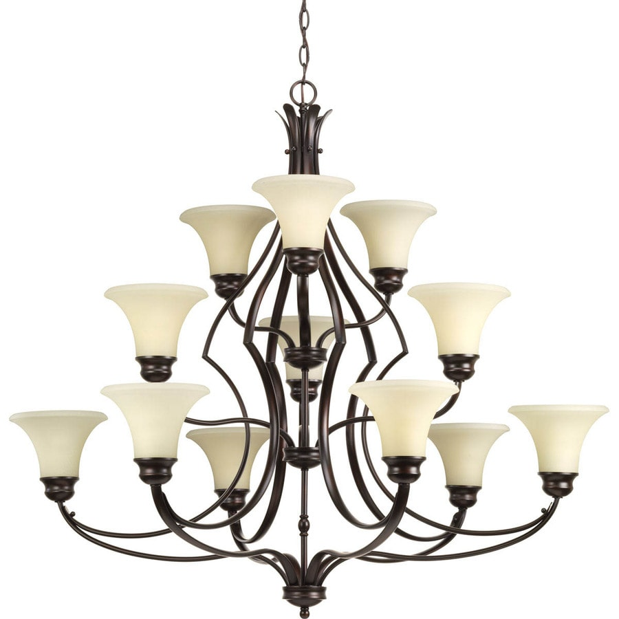 Progress Lighting Applause 42-in 12-Light Antique Bronze Tinted Glass Shaded Chandelier