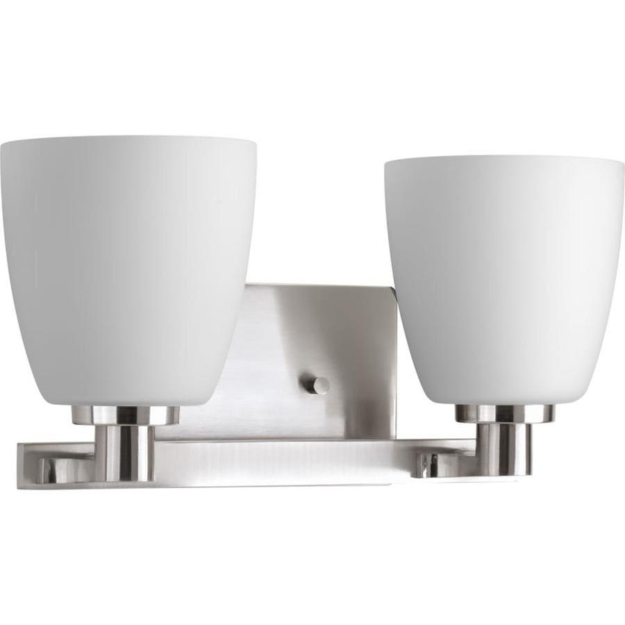 Progress Lighting Fleet 2-Light Brushed Nickel Bell Vanity Light