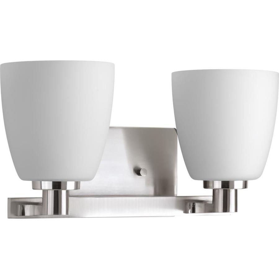 Progress Lighting Fleet 2-Light 7.25-in Brushed Nickel Bell Vanity Light