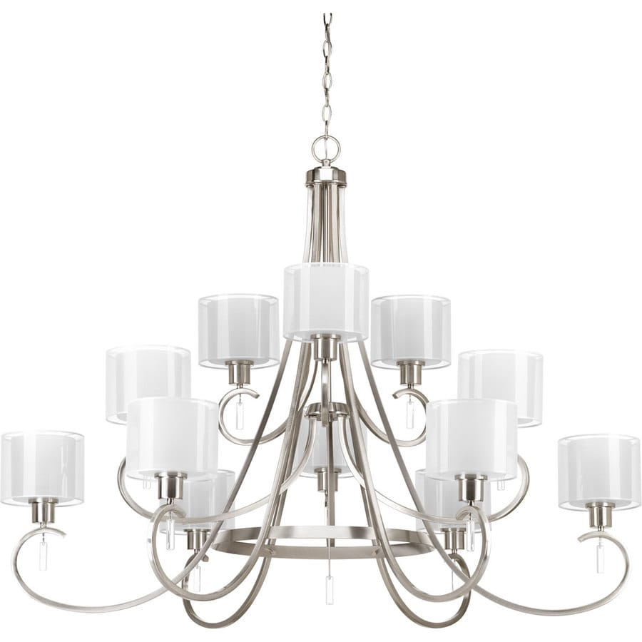 Progress Lighting Invite 49-in 12-Light Brushed Nickel Etched Glass Shaded Chandelier
