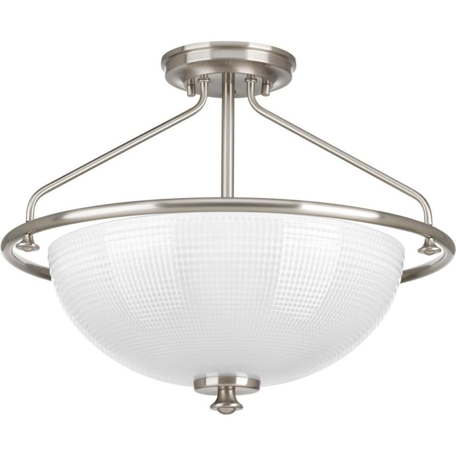Progress Lighting Lucky 16.25-in W Brushed Nickel Frosted Glass Semi-Flush Mount Light
