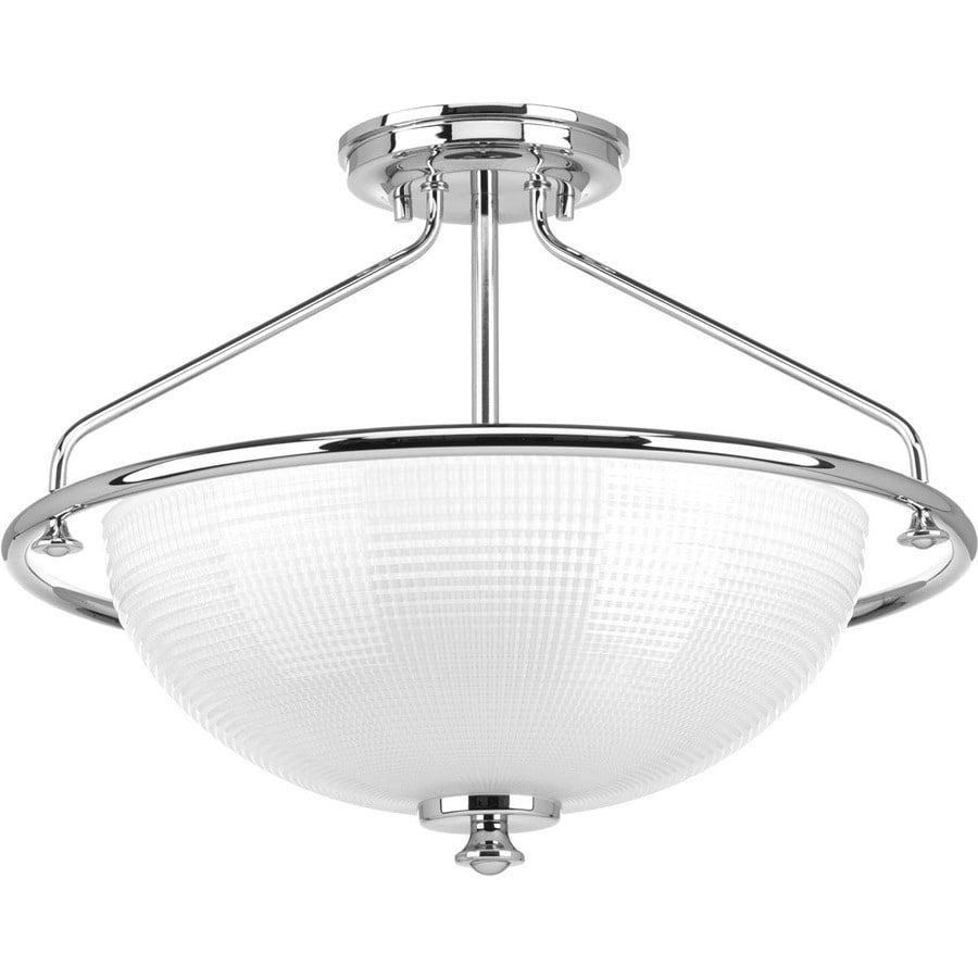 Progress Lighting Lucky 16.25-in W Polished Chrome Frosted Glass Semi-Flush Mount Light