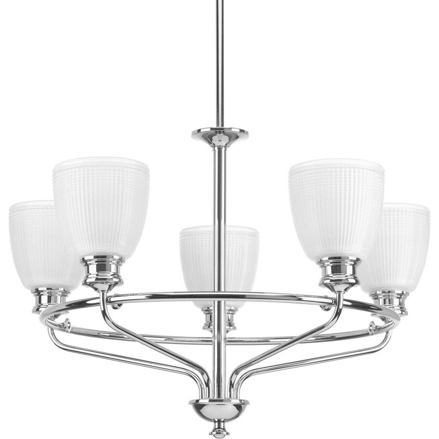 Progress Lighting Lucky 25-in 5-Light Polished Chrome Textured Glass Shaded Chandelier