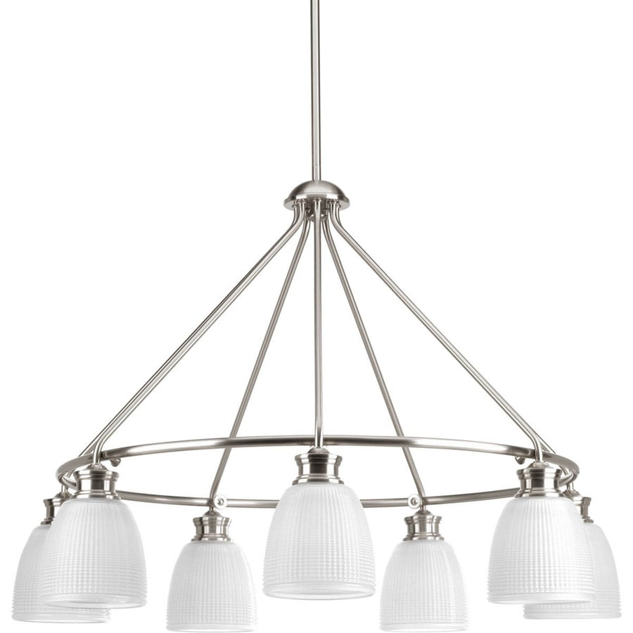 Progress Lighting Lucky 31-in 7-Light Brushed Nickel Textured Glass Shaded Chandelier
