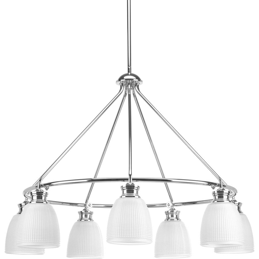 Progress Lighting Lucky 31-in 7-Light Polished chrome Textured Glass Shaded Chandelier