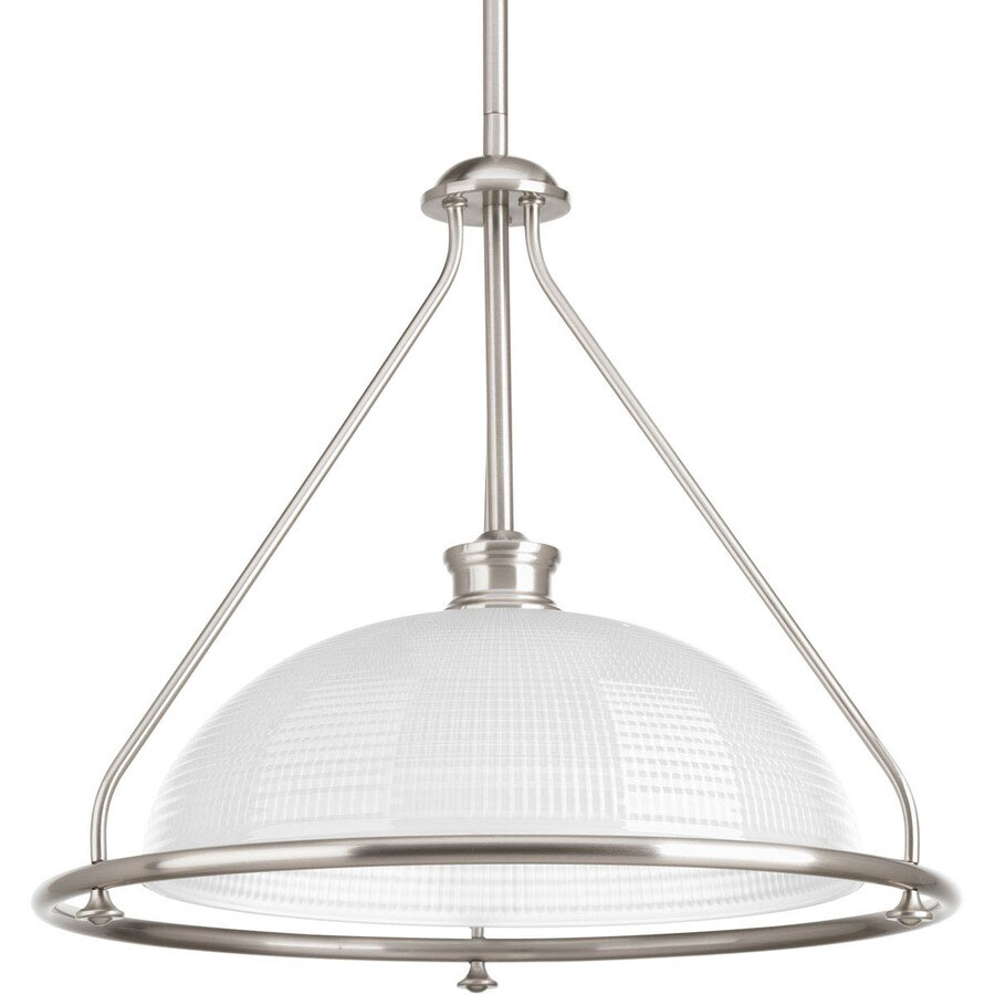 Progress Lighting Lucky 16.25-in 1-Light Brushed nickel Textured Glass Shaded Chandelier