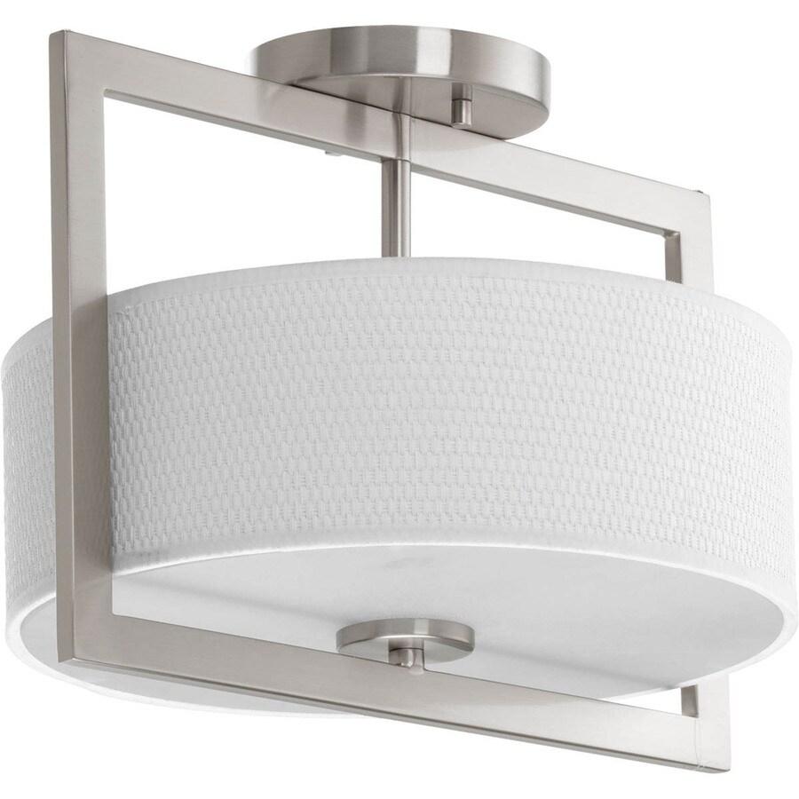 Progress Lighting Harmony 12.75-in W Brushed Nickel Fabric Semi-Flush Mount Light
