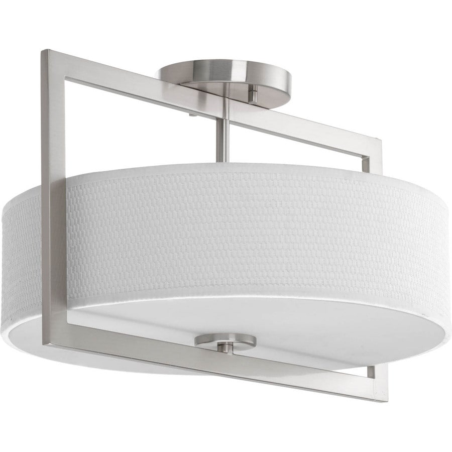 Progress Lighting Harmony 15-in W Brushed Nickel Fabric Semi-Flush Mount Light