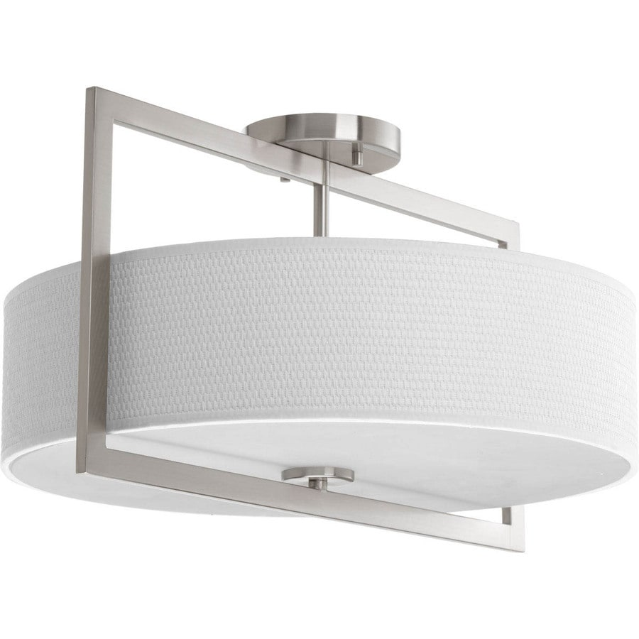 Progress Lighting Harmony 18-in W Brushed Nickel Fabric Semi-Flush Mount Light