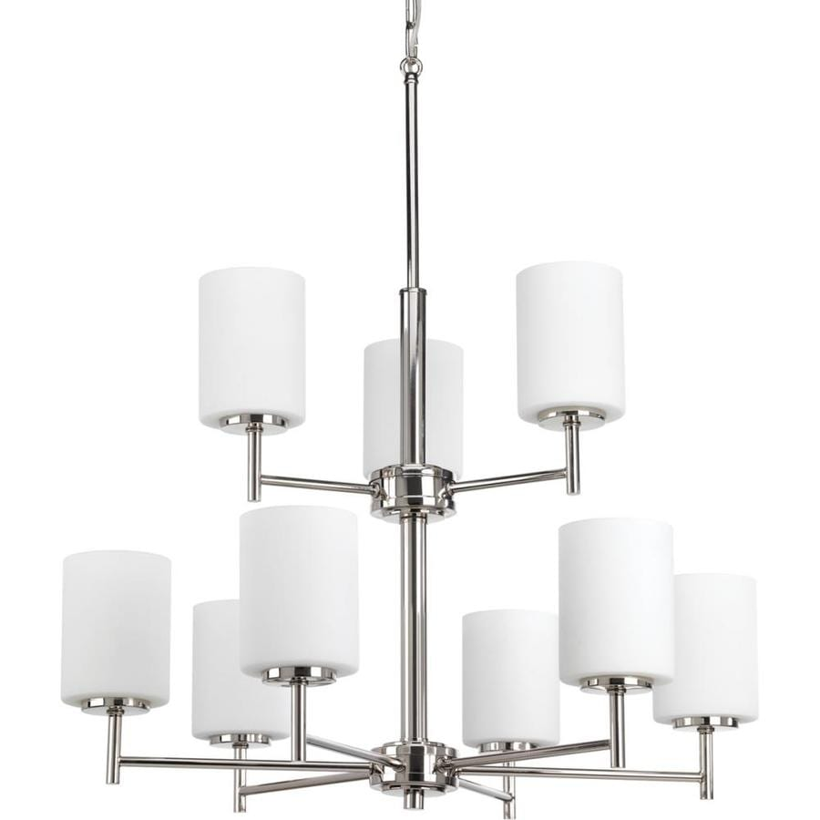 Progress Lighting Replay 25.5-in 9-Light Polished nickel Etched Glass Shaded Chandelier