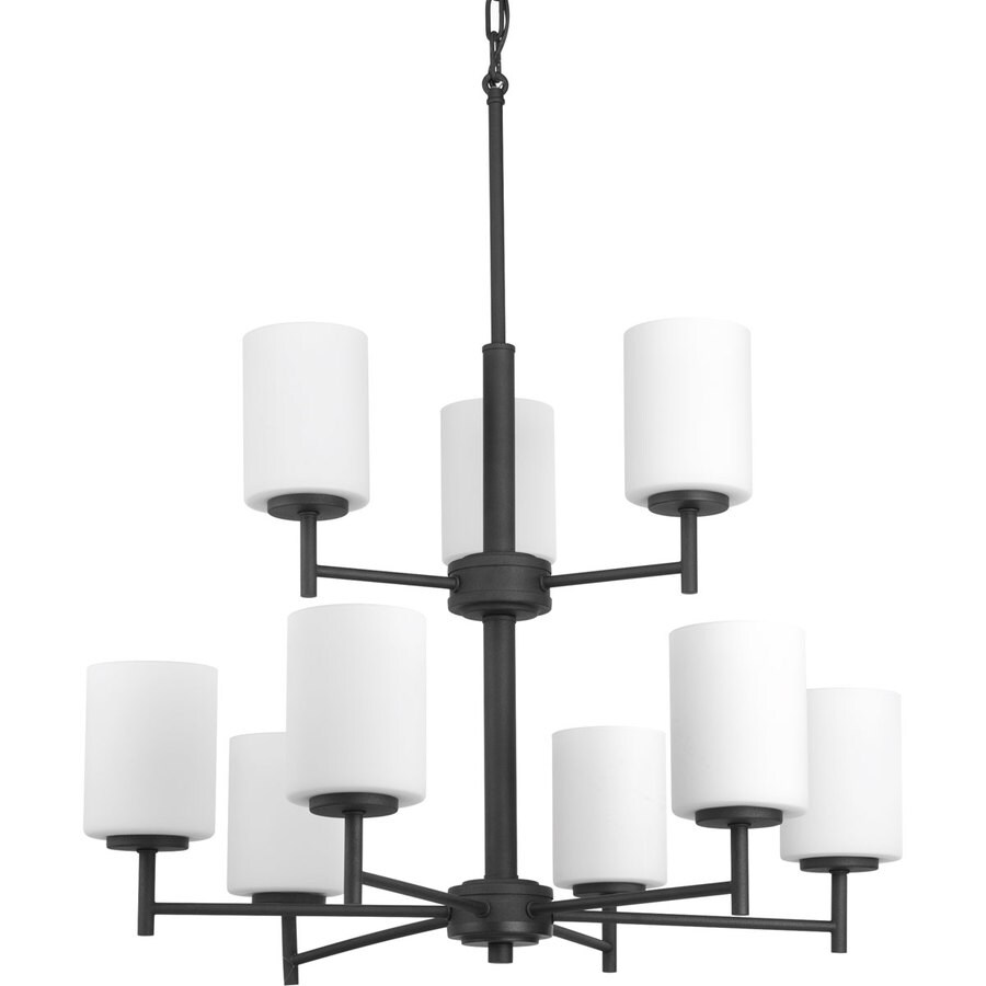 Progress Lighting Replay 25.5-in 9-Light Black Etched Glass Shaded Chandelier