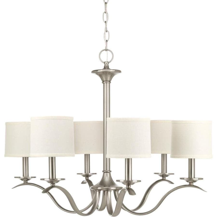 Progress Lighting Inspire 30-in 6-Light Brushed Nickel Etched Glass Shaded Chandelier