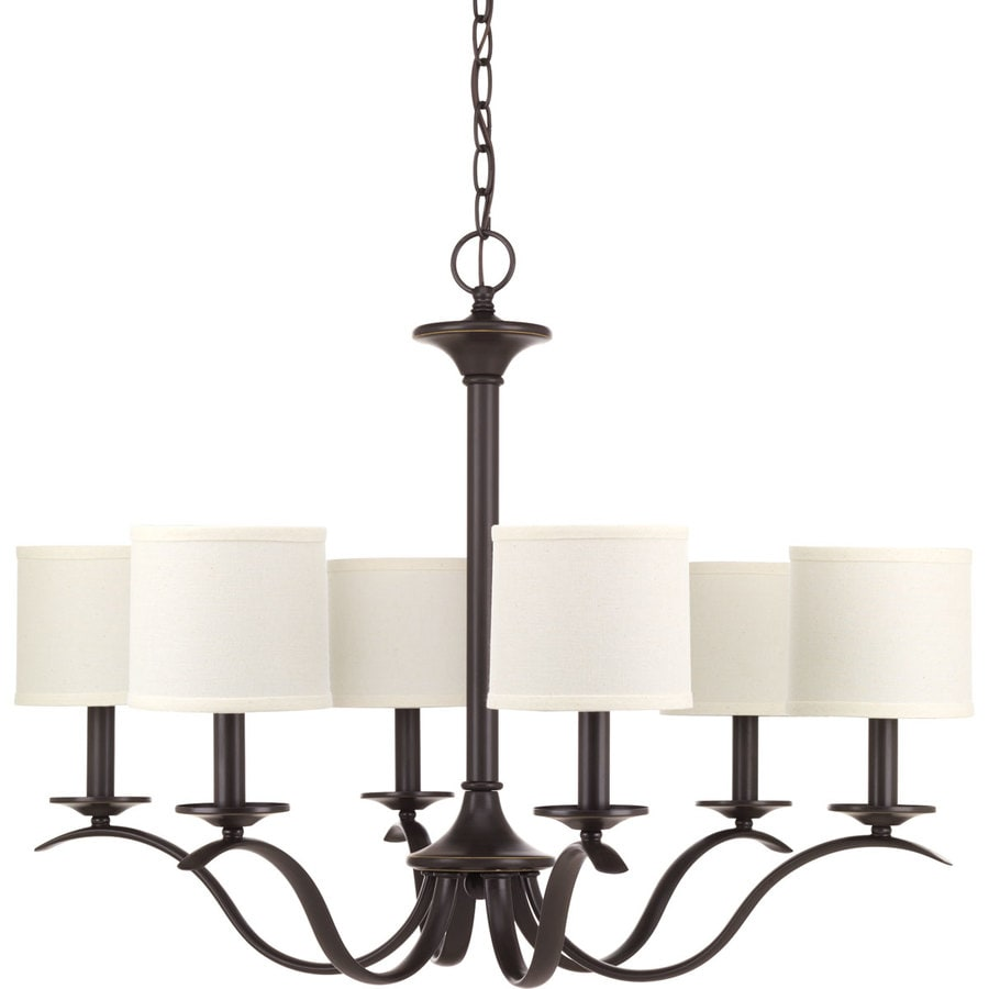 Progress Lighting Inspire 30-in 6-Light Antique bronze Etched Glass Shaded Chandelier