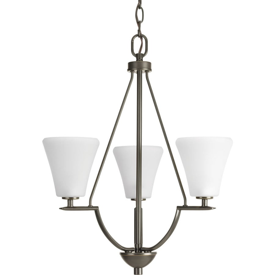 Progress Lighting Bravo 18-in 3-Light Antique Bronze Etched Glass Shaded Chandelier