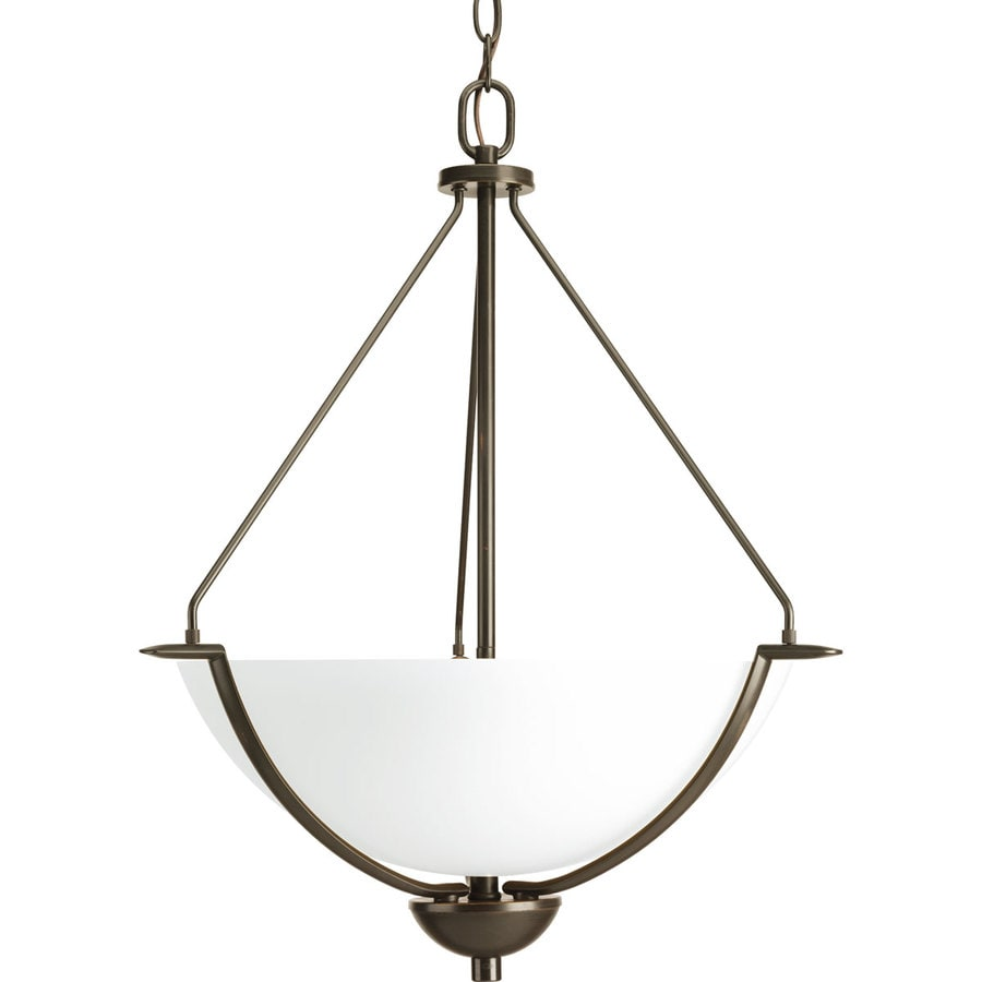 Progress Lighting Bravo 21-in 3-Light Antique Bronze Etched Glass Shaded Chandelier