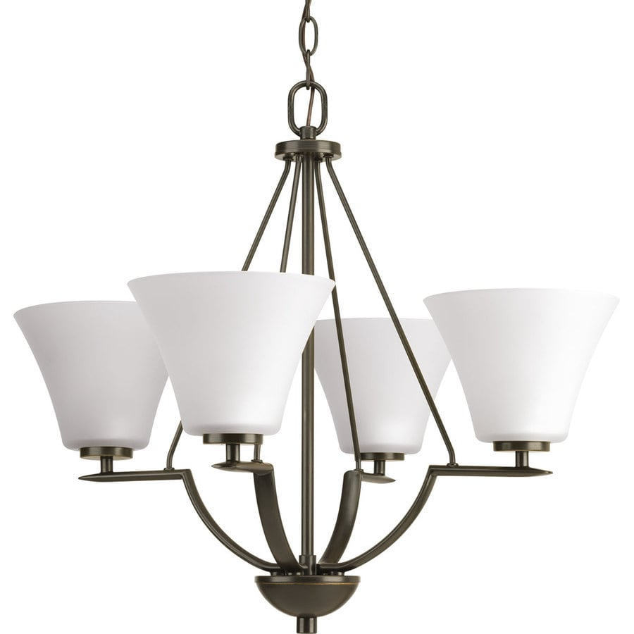 Progress Lighting Bravo 24-in 4-Light Antique bronze Etched Glass Shaded Chandelier