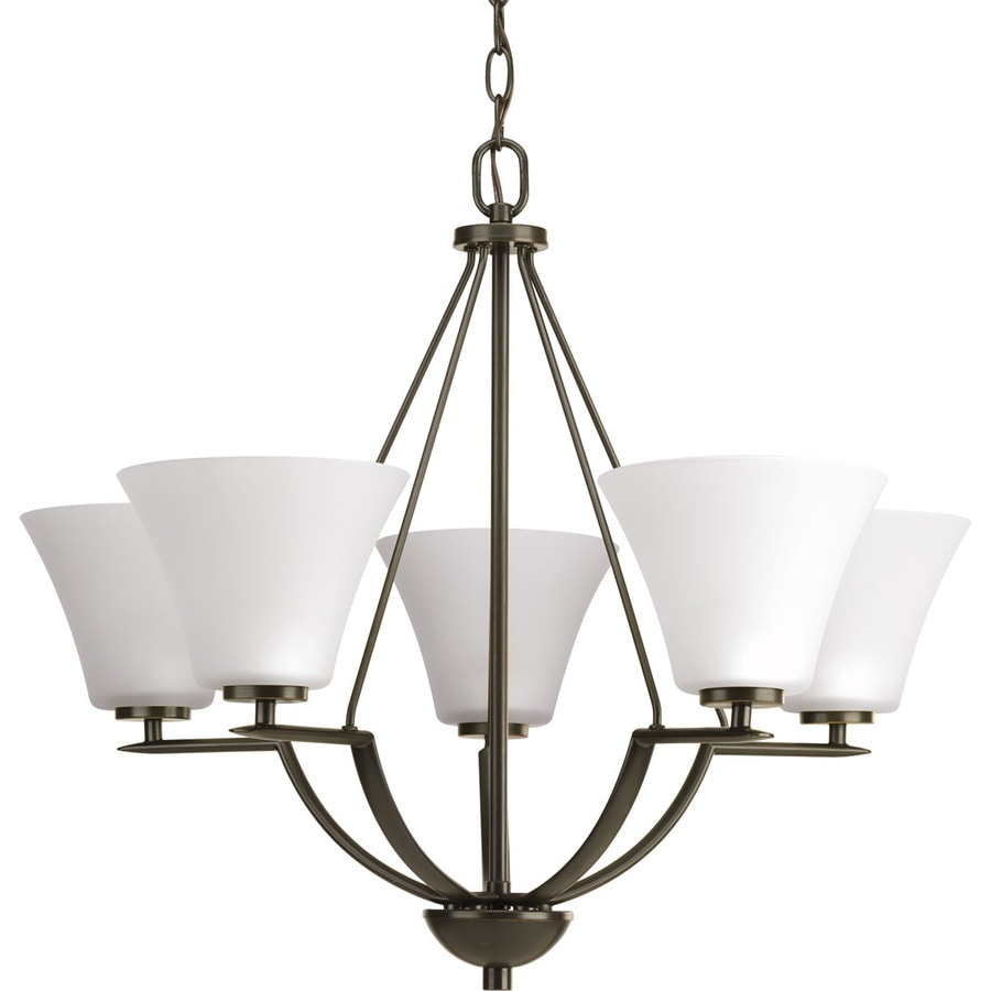 Progress Lighting Bravo 27-in 5-Light Antique Bronze Etched Glass Shaded Chandelier