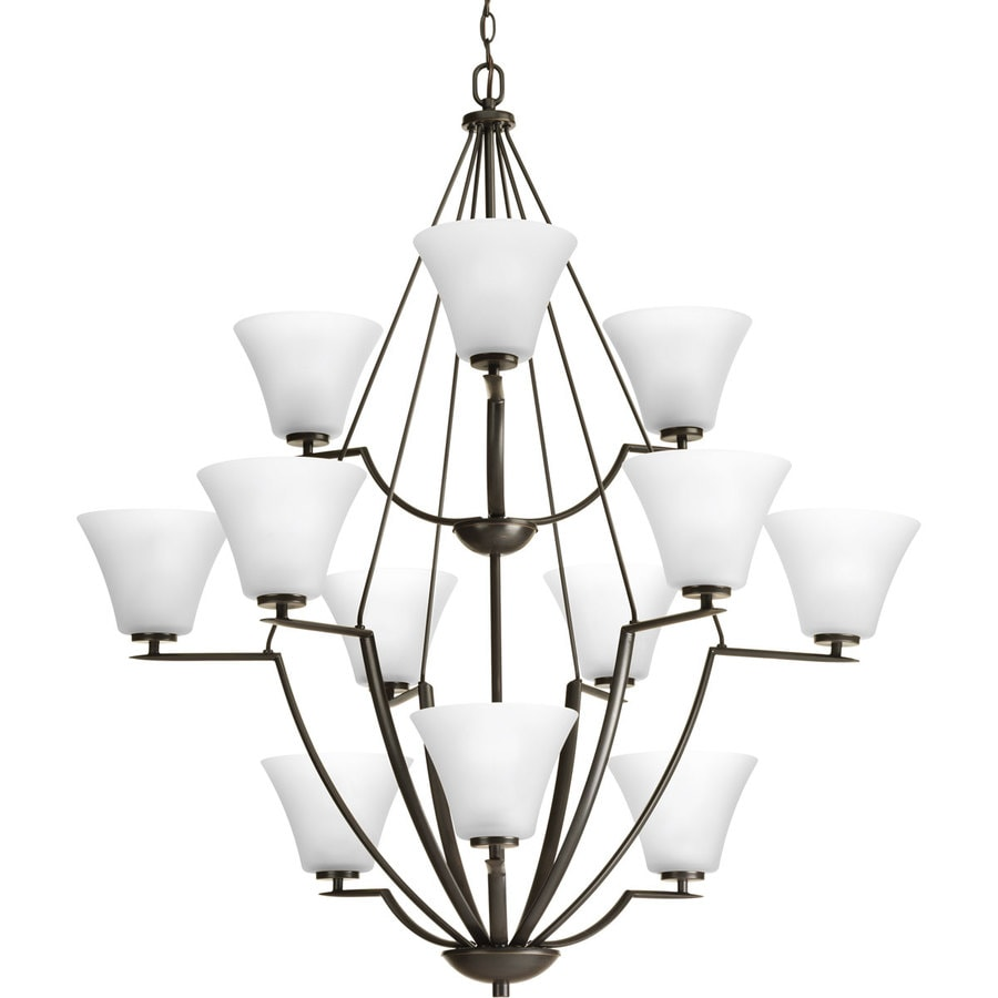Progress Lighting Bravo 38-in 12-Light Antique Bronze Etched Glass Shaded Chandelier
