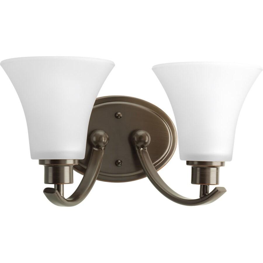 Progress Lighting Joy 2-Light 7.625-in Antique Bronze Bell Vanity Light