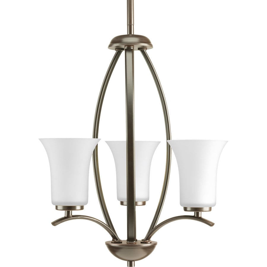 Progress Lighting Joy 14.625-in 3-Light Antique Bronze Etched Glass Shaded Chandelier