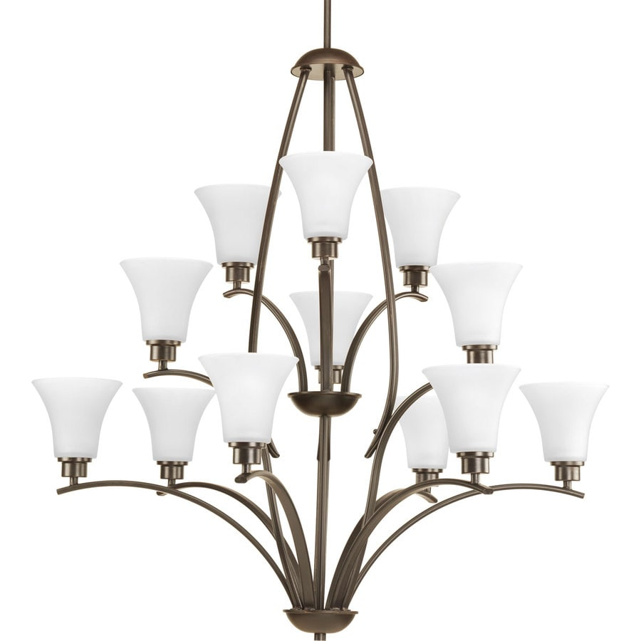 Progress Lighting Joy 38-in 12-Light Antique Bronze Etched Glass Shaded Chandelier