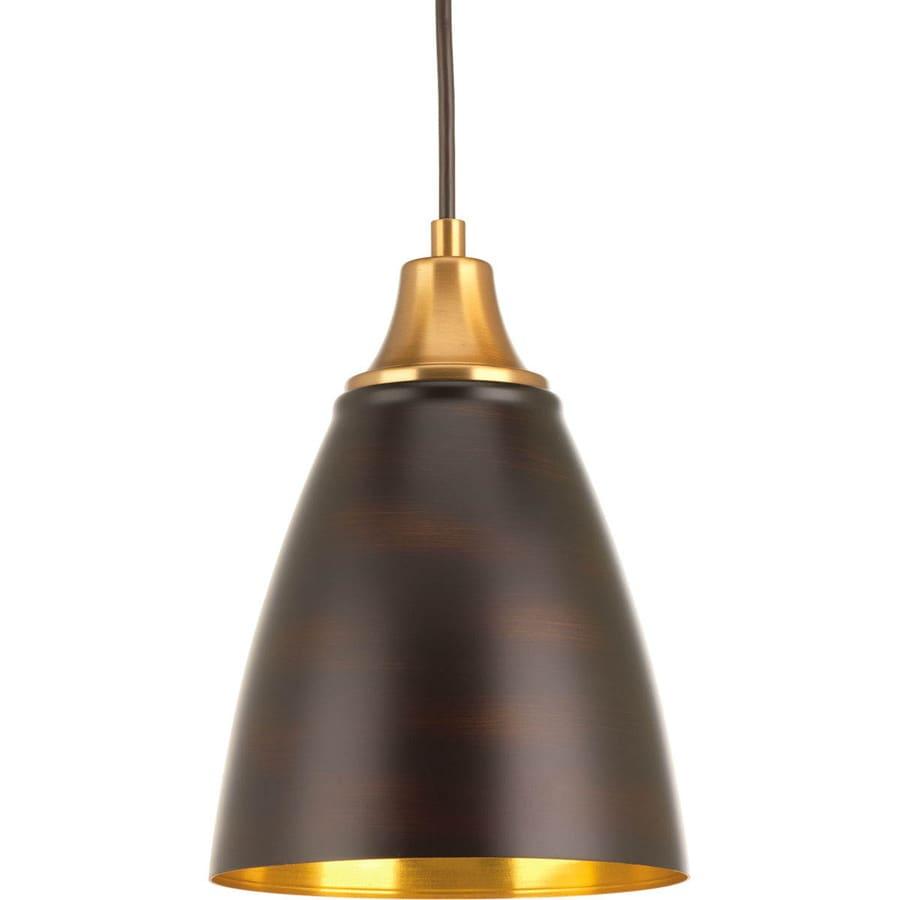 Progress Lighting Pure 6.5-in Antique Bronze Mini Bell Pendant