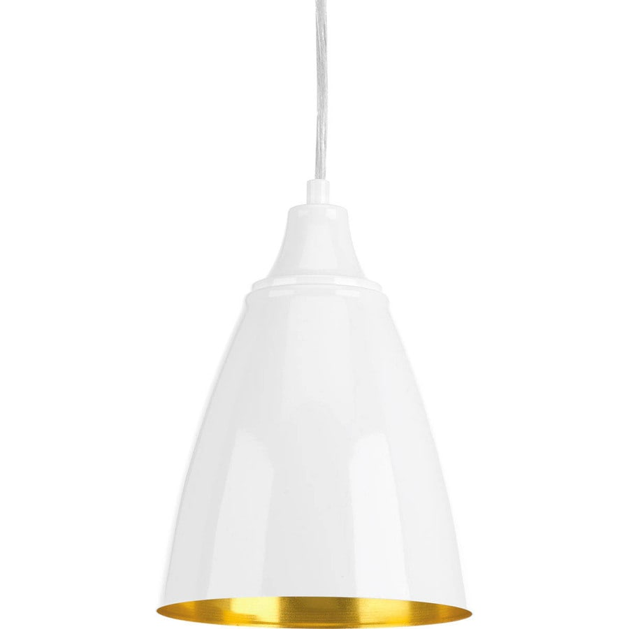 Progress Lighting Pure 6.5-in White Mini Bell LED Pendant