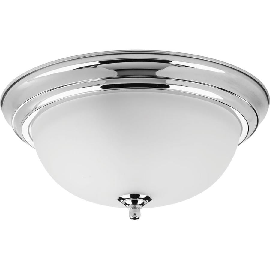 Progress Lighting Dome Glass 13.25-in W Polished Chrome Ceiling Flush Mount Light
