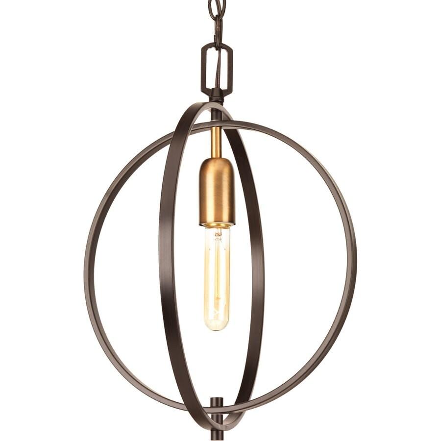 Progress Lighting Swing 14-in 1-Light Antique Bronze Industrial Globe Chandelier