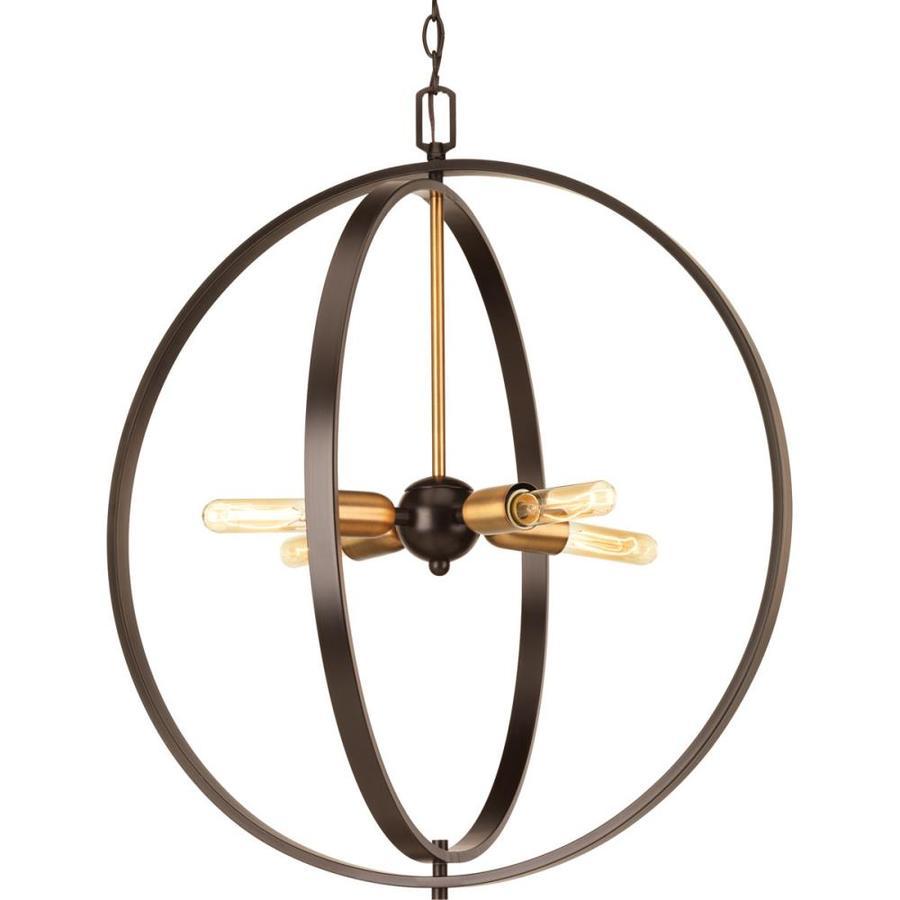 Progress Lighting Swing 25-in 4-Light Antique bronze Industrial Globe Chandelier