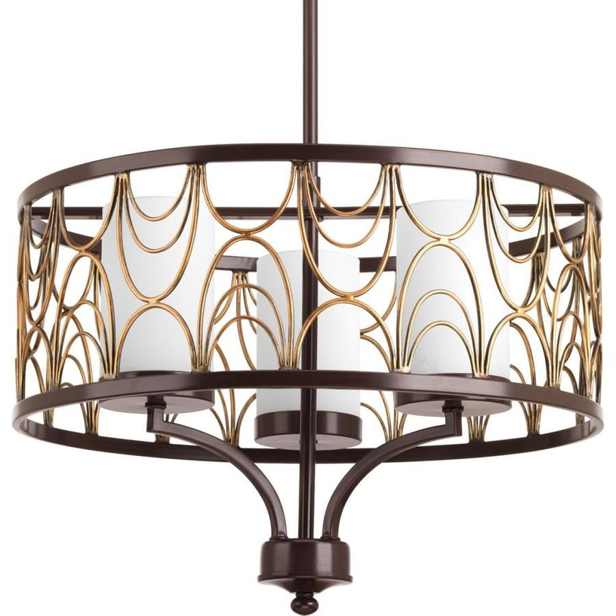 Progress Lighting Cirrine 18-in 3-Light Antique bronze Etched Glass Shaded Chandelier