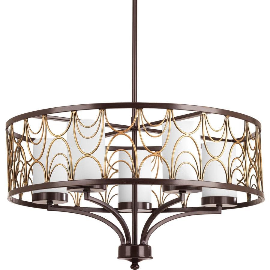 Progress Lighting Cirrine 24-in 5-Light Antique Bronze Etched Glass Shaded Chandelier