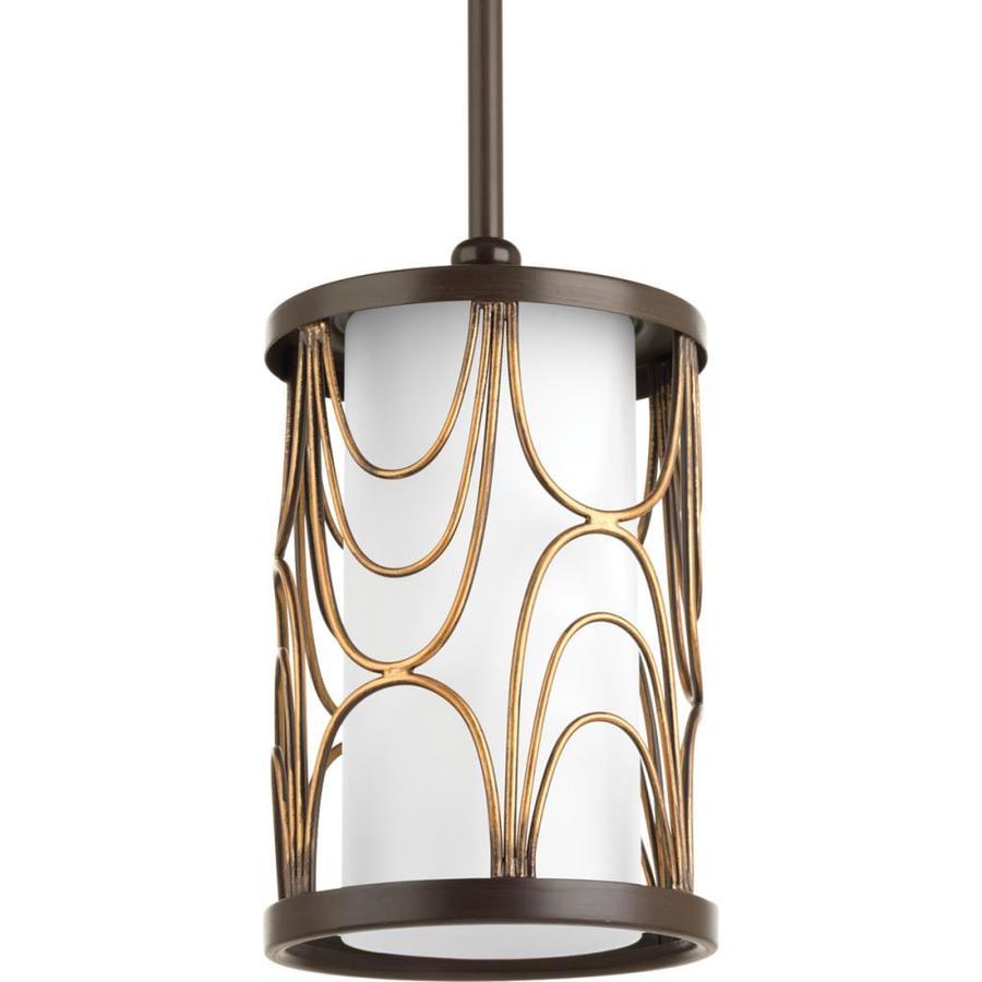 Progress Lighting Cirrine 6-in Antique Bronze Mini Etched Glass Bell Pendant